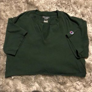 Champion hunter green crop top and logo